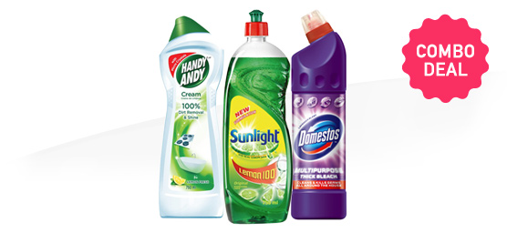 Buy Sunlight Dishwashing Liquid & Domestos & Handy Andy 750ml